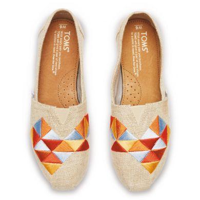 Béžové dámské TOMS Alpargata s barevnou výšivkou