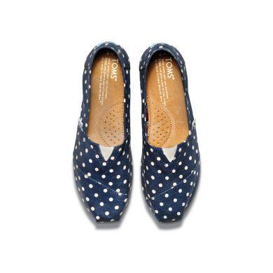 Modré dámské TOMS Classic Alpargata s puntíky