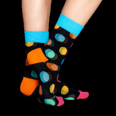 Černé ponožky Happy Socks s barevnými puntíky, vzor Out Of Focus