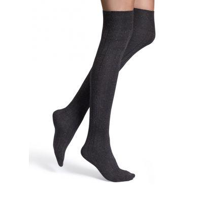 Černé nadkolenky Happy Socks