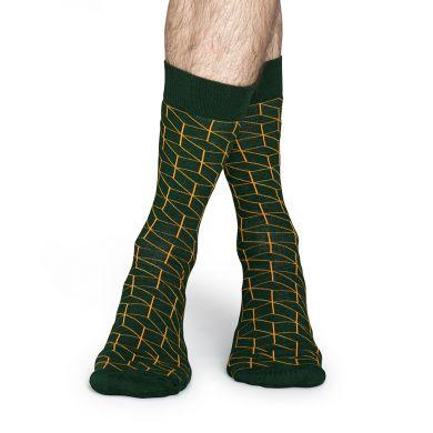 Zelené ponožky Happy Socks se žlutým vzorem Optic