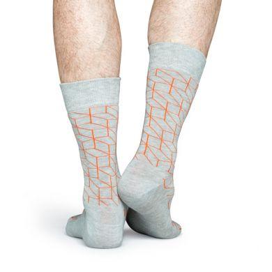 Sivé ponožky Happy Socks s oranžovým vzorom Optic