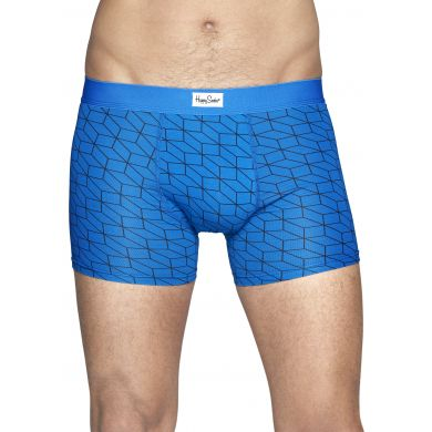Modré boxerky Happy Socks s černým vzorem Optic