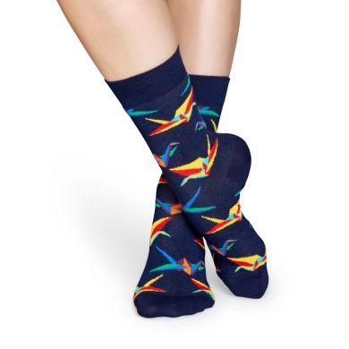 Modré ponožky Happy Socks s farebným vzorom Origami