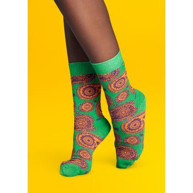 Zelené ponožky Happy Socks s fialovým vzorem Paisley