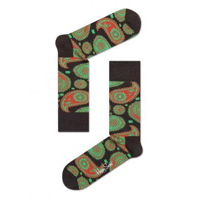 Hnědé ponožky Happy Socks se zeleným vzorem Paisley
