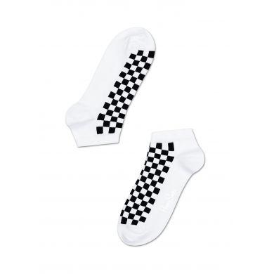Nízke bílé ponožky Happy Socks s černými čtverečky
