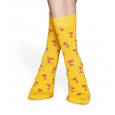 Žluté ponožky Happy Socks s růžovými palmami, vzor Palm Beach