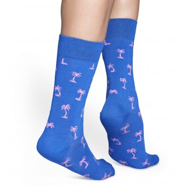 Modré ponožky Happy Socks s růžovými palmami, vzor Palm Beach