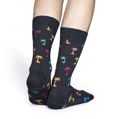 Sivé ponožky Happy Socks s faebnými palmami, vzor Palm Beach