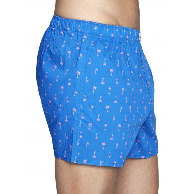 Modré trenýrky Happy Socks s růžovými palmami, vzor Palm Beach