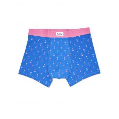Modré boxerky Happy Socks s růžovými palmami, vzor Palm Beach