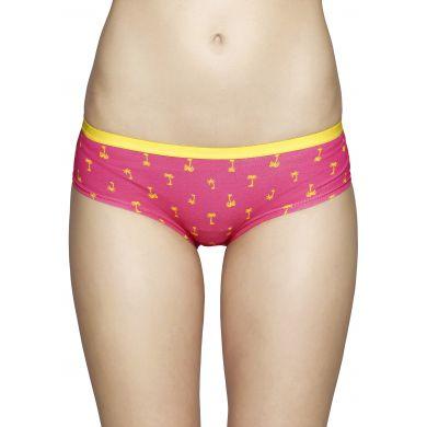 Ružové nohavičky Happy Socks se žltými palmami, vzor Palm beach
