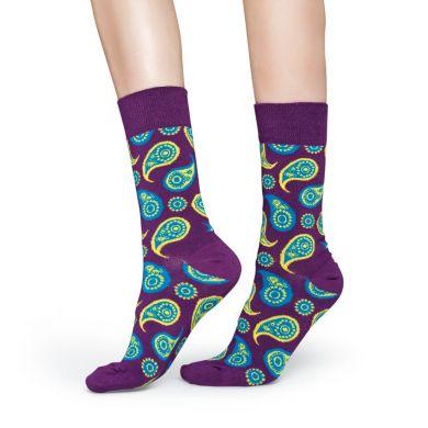 Fialové ponožky Happy Socks s farebným vzorom Paisley