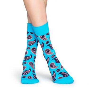 Tyrkysové ponožky Happy Socks s farebným vzorom Paisley