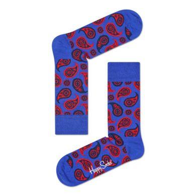 Modré ponožky Happy Socks s červeným vzorom Paisley