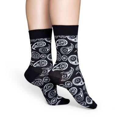 Čierne ponožky Happy Socks s bielymi vzormi Paisley