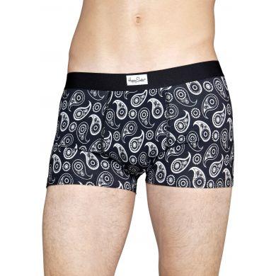 Černobílé boxerky Happy Socks se vzorem Paisley