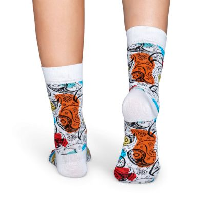 Bílé ponožky Happy Socks s barevným vzorem Paisley