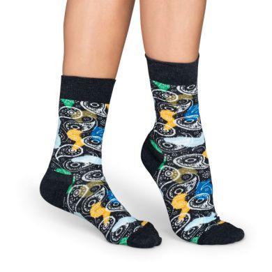 Tmavě šedé ponožky Happy Socks s barevným vzorem Paisley