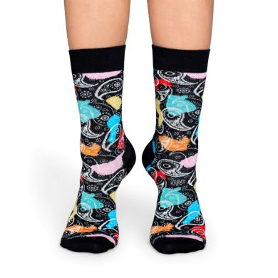 Černé ponožky Happy Socks s barevným vzorem Paisley