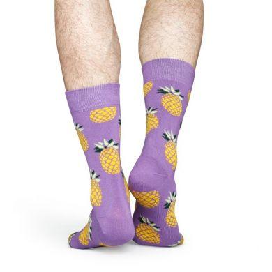 Fialové ponožky Happy Socks so žltými ananásmi, vzor Pineapple