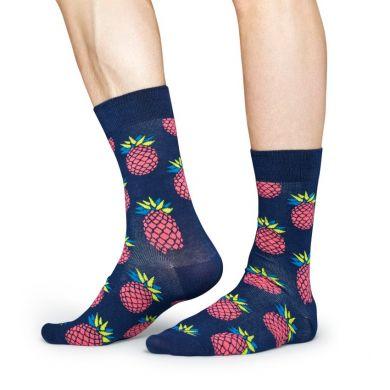 Modré ponožky Happy Socks s ružovými ananásmi, vzor Pineapple