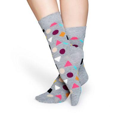 Šedé ponožky Happy Socks s barevným vzorem Play
