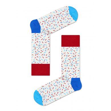 Bílé ponožky Happy Socks s barevnými čárkami, vzor Sprinkles