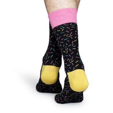 Černé ponožky Happy Socks s barevnými čárkami, vzor Sprinkles