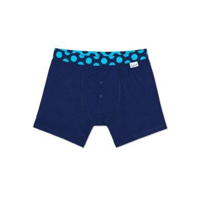 Modré delší Solid boxerky Happy Socks s tyrkysovými puntíky