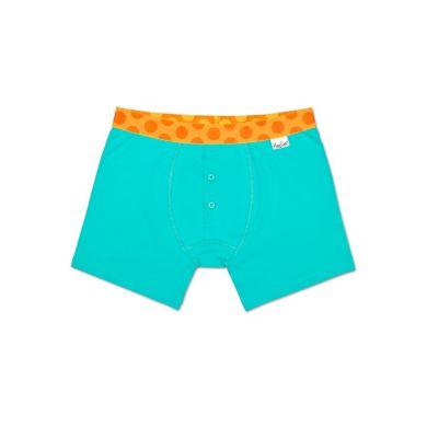 Tyrkysové delší Solid boxerky s knoflíčky Happy Socks s oranžovými puntíky