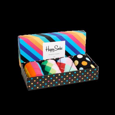 Dárková krabička Stripes - čtyři páry, unisex, vzor Stripe, Faded Diamond, Argyle, Big Dot