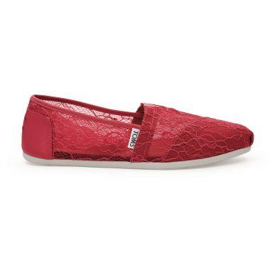 Červené dámské krajkové TOMS Alpargata