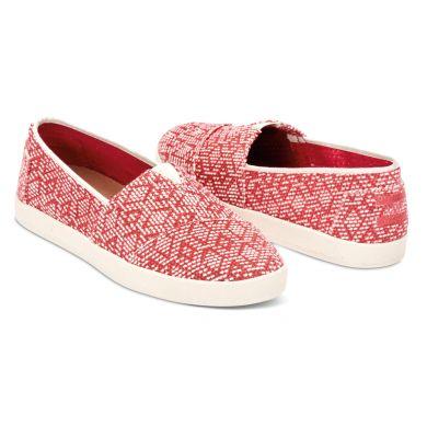 Červeno-béžové dámské TOMS Diamond Avalon Slip-on