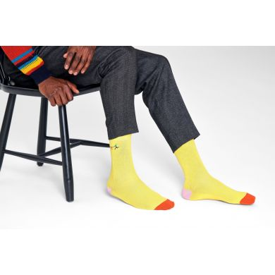 Žlté vrúbkované ponožky Happy Socks s vyšitým psíčkarom, vzor Run The Dog