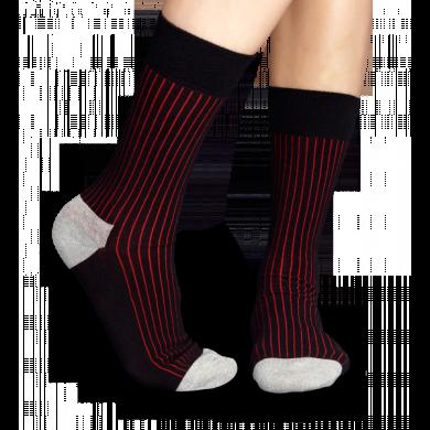 Černé ponožky Happy Socks s červeným vzorem Rib
