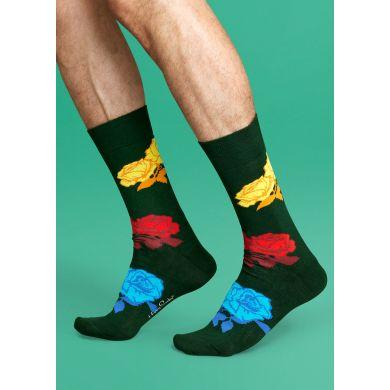 Zelené ponožky Happy Socks s barevnými růžemi, vzor Rose