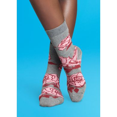 Šedé ponožky Happy Socks s růžemi, vzor Rose