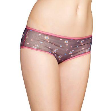 Šedé mesh nohavičky Happy Socks s farebným vzorom Rose Petal