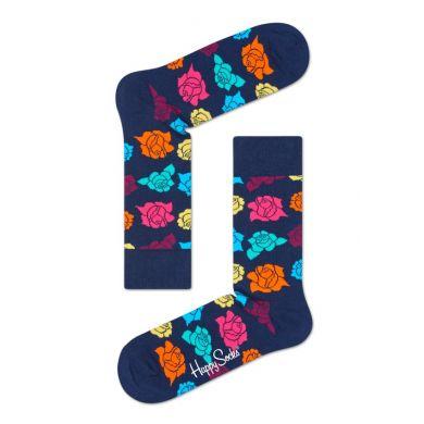 Modré ponožky Happy Socks s farebnými ružami, vzor Rose