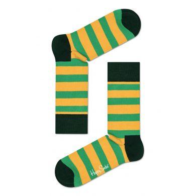 Žluto-zelené pruhované ponožky Happy Socks, vzor Stripe