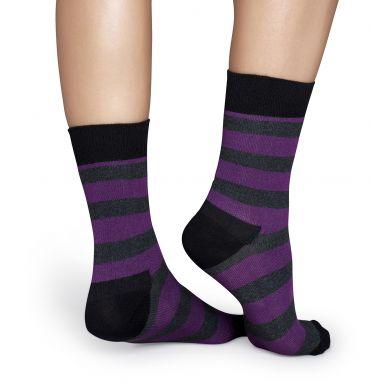 Šedo-fialové pruhované ponožky Happy Socks, vzor Stripe