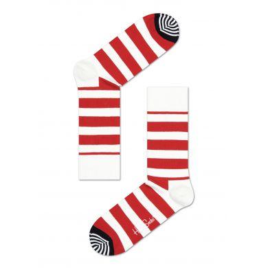 Červeno-bílé pruhované ponožky Happy Socks, vzor Stripe