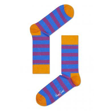 Modro-fialové pruhované ponožky Happy Socks, vzor Stripe
