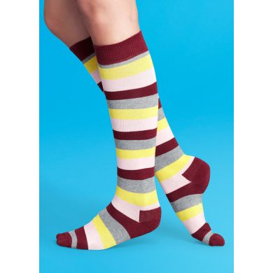 Barevné pruhované podkolenky Happy Socks, vzor Stripe