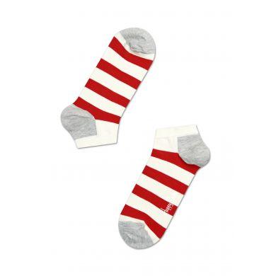 Nízke krémovo-červené pruhované ponožky Happy Socks, vzor Stripe
