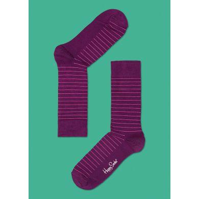 Fialové ponožky Happy Socks s růžovými proužky, vzor Thin Stripe
