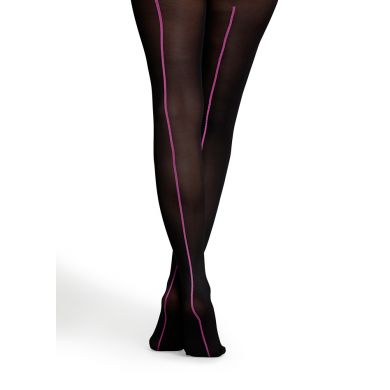 Černé punčocháče Happy Socks s fialovým pruhem