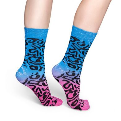Růžovo-modré ponožky Happy Socks s černým vzorem blob // Kolekce Special Special